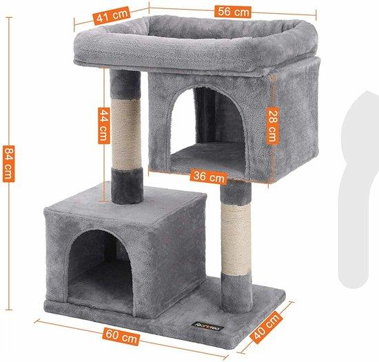 Krabaal voor de Huiskat - Met Aparte Huisjes en Hogere Mand - 60x40x84cm - Grijs