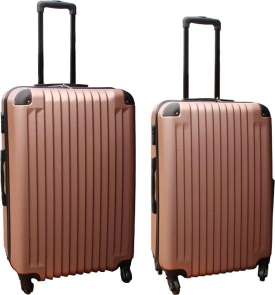 2 delige ABS kofferset 69 en 95 liter rose goud