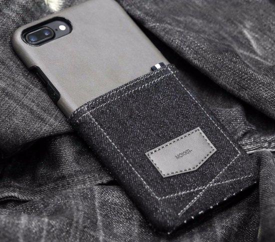 Luxueus Lederen KAJSA hoesje Handcrafted | Denim Collection MOKKA |  iPhone 7 hoesje met kaartsleuf | Blauw Grijs in Amby