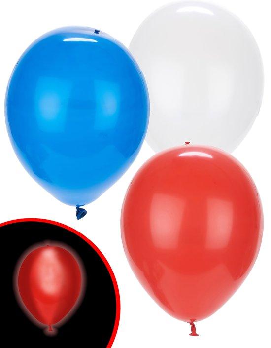 Illooms LED Ballonnen Rood, Wit & Blauw - 5 Stuks