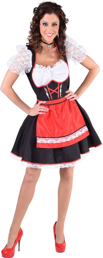 75c4124d4dd21a Zwarte dirndl jurk met rood schort en edelweiss - Oktoberfest kleding dames  maat XS (32