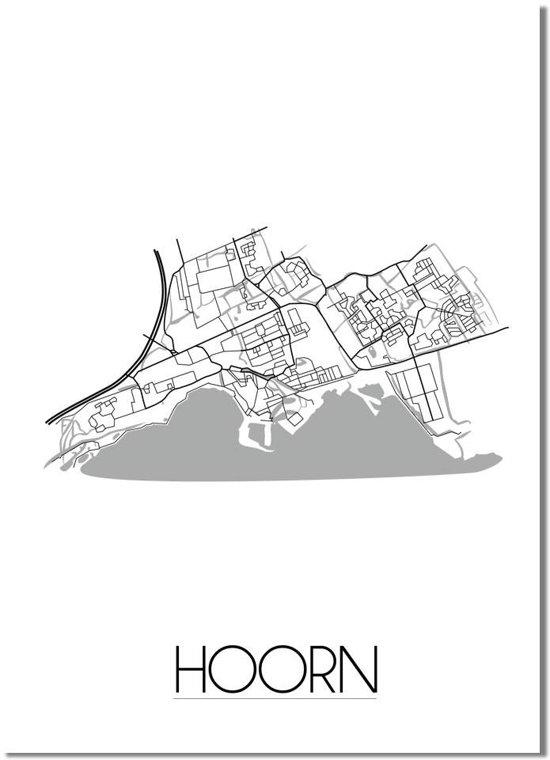 Plattegrond Hoorn Stadskaart poster DesignClaud - Wit Grijs - A4 poster