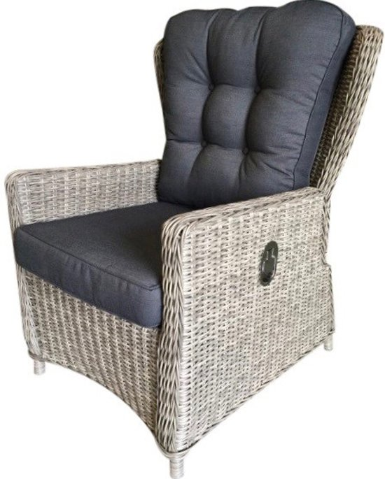 Verstelbare Wicker Fauteuil.Marina Verstelbare Lounge Stoel Natural Kobo Grey Royal Dark Grey