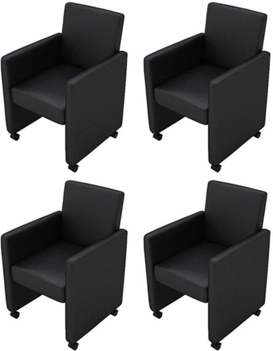 Zwarte Eetkamerstoelen Met Wielen.Eetkamerstoelen Met Wieltjes Kunstleer Zwart 4 St