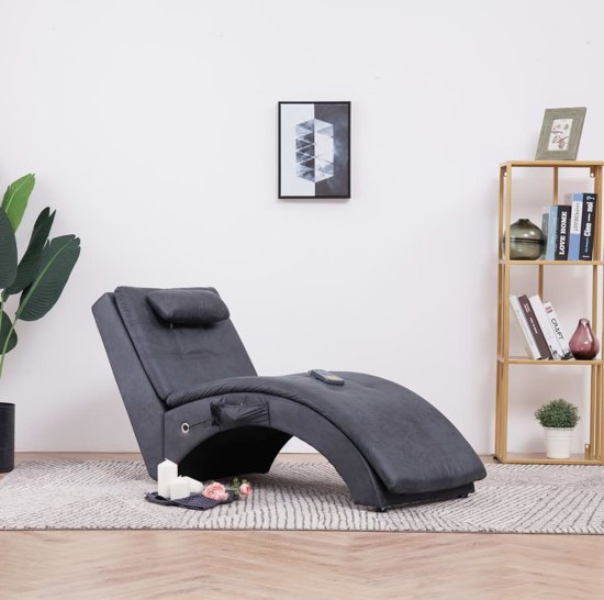 Bruin Leren Bank Met Longchair.Bol Com Massage Chaise Longue Grijs Kunst Suede Leer Chaise