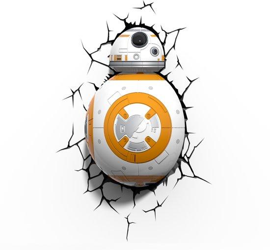 3DlightFX Star Wars BB-8 - Wandlamp - Nachtlamp met wandsticker en timer - energie zuinige LED verlichting - 31 x 23 cm.