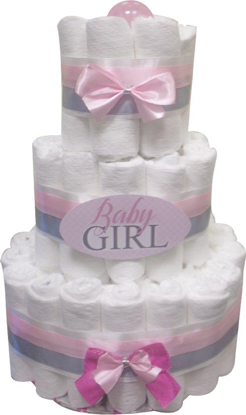Luiertaart / pampertaart meisjes 3 lagen baby girl 41 Pampers maat 2 roze Kraamcadeau, Babyshower, Geboortecadeau