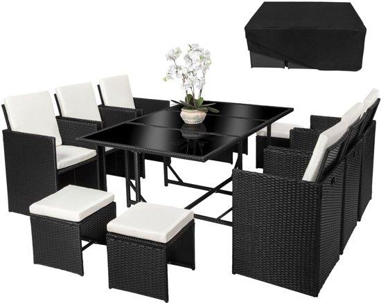 Bol.com tectake wicker tuinset zwart 6 stoelen en 1 tafel