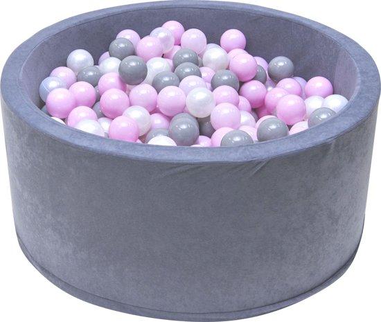 Ballenbak | Grijs incl.  200 witte, grijze en roze ballen