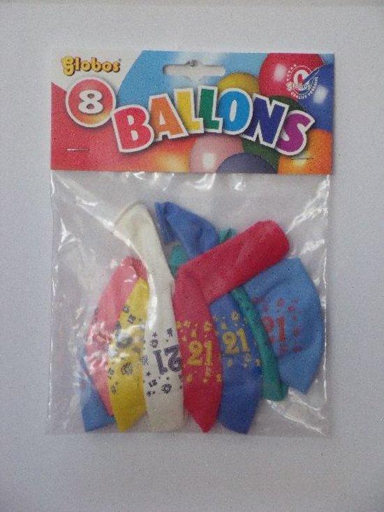 Ballonnen cijfer 21 no. 12 eenzijdig 5 zakjes met 8 stuks