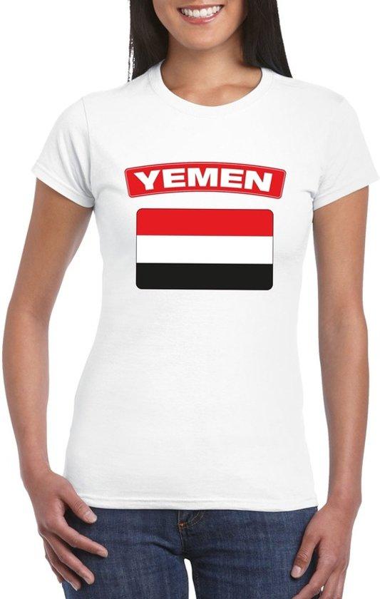 T-shirt met Jemenitische vlag wit dames L