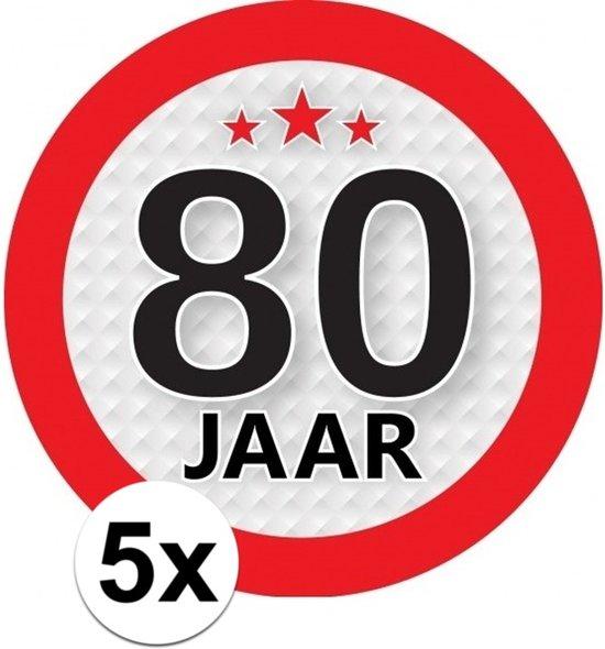 5x 80 Jaar leeftijd stickers rond 9 cm - 80 jaar verjaardag/jubileum versiering
