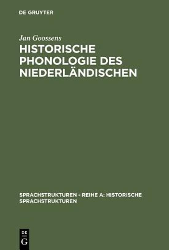 Historische Phonologie Des Niederl ndischen