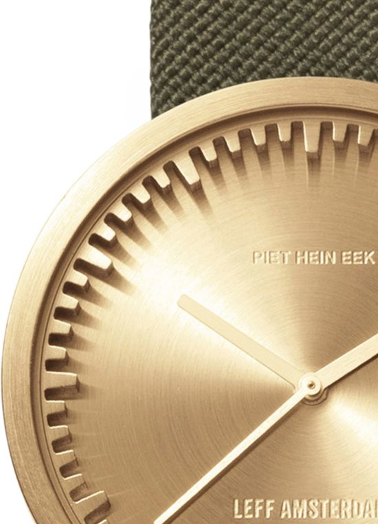 LEFF amsterdam tube watch D38 brass / green nylon-leather strap