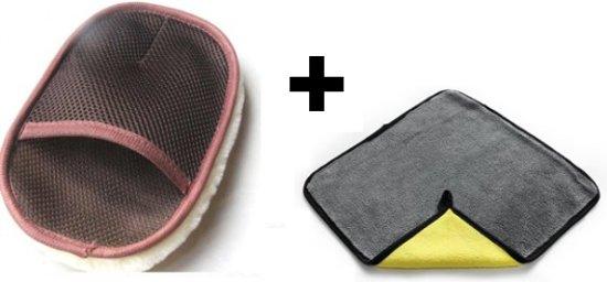 auto schoonmaak set / auto onderhoud set / velgenreiniger - washandschoen - poetsdoek