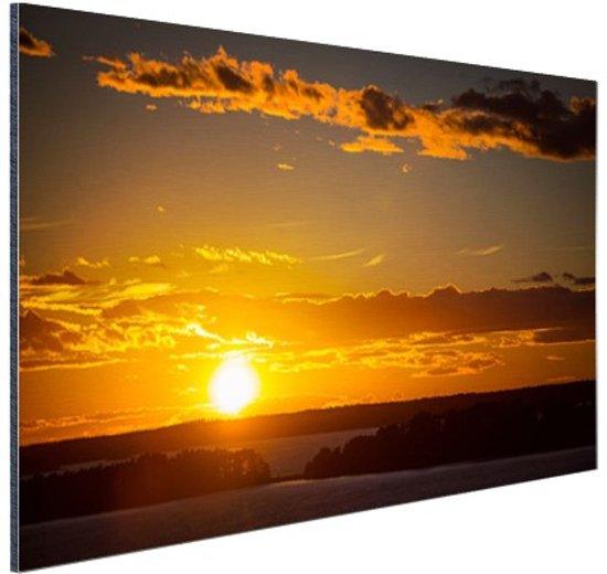 Zonsondergang met wolken Aluminium 60x40 cm - Foto print op Aluminium (metaal wanddecoratie)