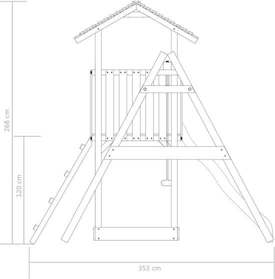 vidaXL Speelhuis ladder, glijbaan en schommels 385x353x268 cm FSC hout