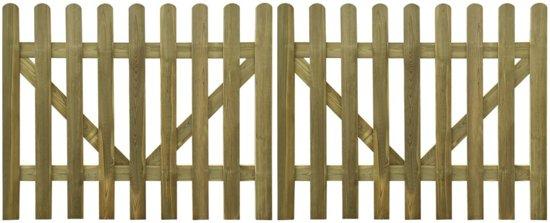 vidaXL Poorten 2 st 300x120 cm FSC geïmpregneerd hout