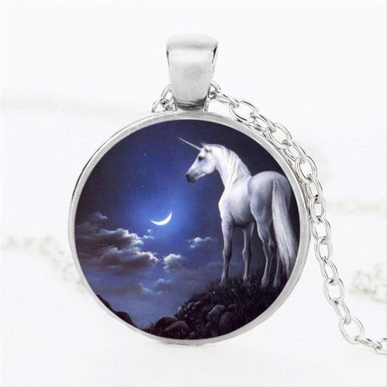 Ketting zilverkleurig | witte eenhoorn | by night