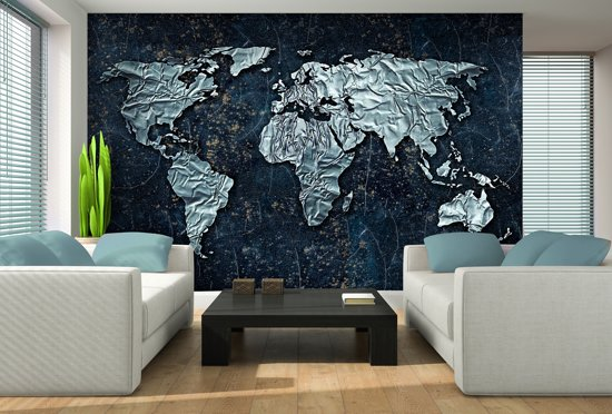 Fotobehang Vlies | Wereldkaart | Blauw, Grijs | 368x254cm (bxh)
