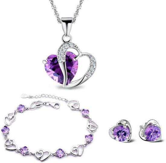 Prachtige 3 Delige Sieraden Set met Hart Ontwerp - Ketting, Oorbellen en Armband - Met Paars Kristal – 45 cm Ketting – 925 Sterling Zilver