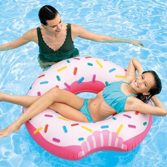 Intex Opblaasbare Donut Zwemring - Zwemband - Drijfband - Hoge Kwaliteit Vinyl -107 cm -  Voor Op Het Water - In het Zwembad - Op Vakantie - Roze Ringband Donut Gekleurd - Vanaf 9 Jaar