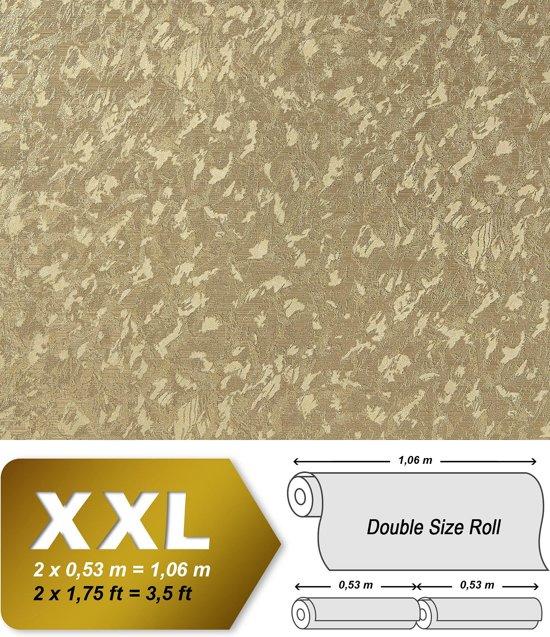 Uni kleuren behang EDEM 9011-32 vliesbehang gestempeld in spachtelputz look glimmend goud 10,65 m2