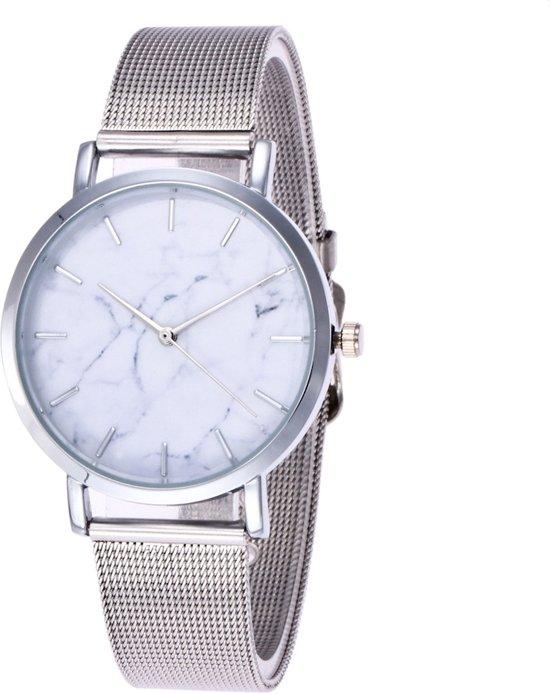 Marble Mesh Horloge - Staal - Zilver - Ø 38 mm Valentinaa