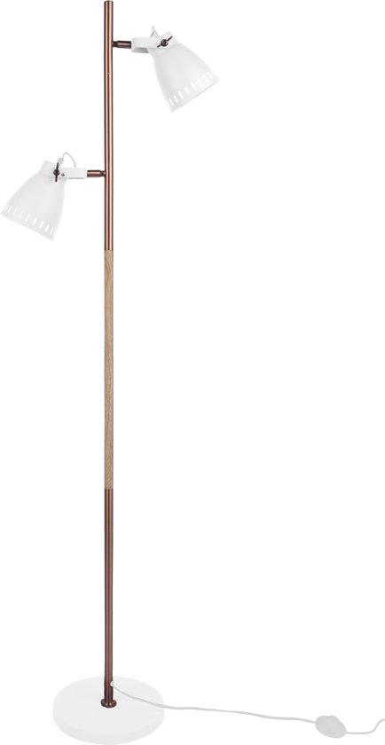 bol | leitmotiv mingle - staande lamp - ijzer/hout - 152x28cm - wit