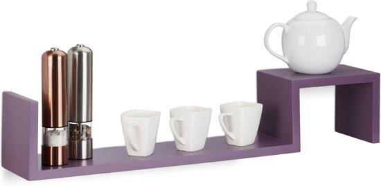 relaxdays boekenplank set van 2 stuks - wandplank - zigzag design - wandboard - modern violet