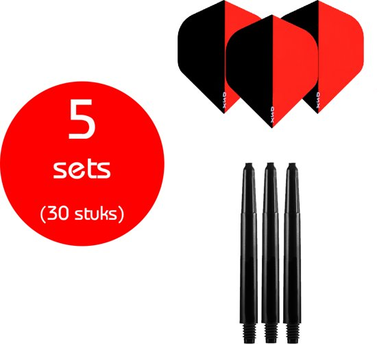Dragon Darts - 5 sets (30 stuks) - medium - darts shafts - inclusief - two-tone - darts flights - zwart-rood