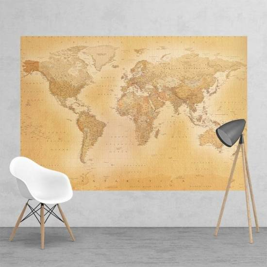 Fotobehang - Old map small - 232 cm x 158 cm - Multi