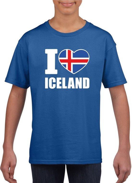 Blauw I love Ijsland supporter shirt kinderen - Ijslands shirt jongens en meisjes XL (158-164)