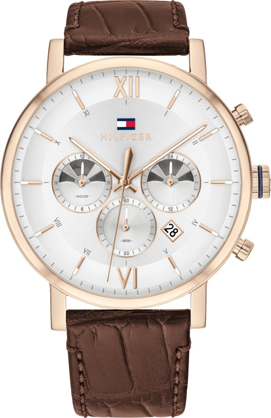 Tommy Hilfiger TH1710394 Horloge  - Leer - Bruin - Ø  44 mm
