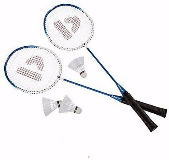 Blauwe badmintonrackets met shuttels