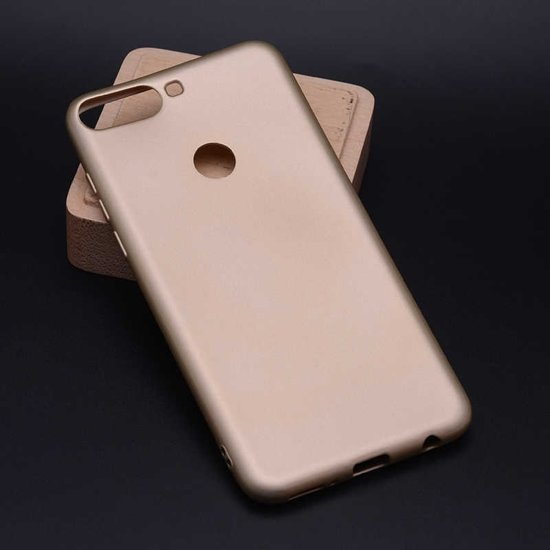 Teleplus Huawei Y7 2018 Luxury Silicone Case Gold + Full Closure Glass hoesje