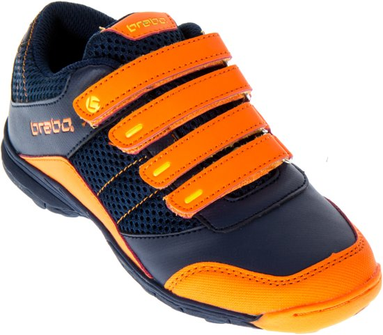 Velcro Brabo - Chaussures En Cuir De Hockey - Junior - Bleu Marine, Orange - Taille 28