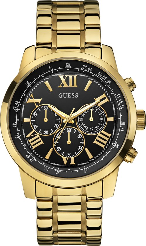 GUESS Watches -  W0379G4 -  Horloge -  Mannen -  RVS - Goudkleurig -  45  mm