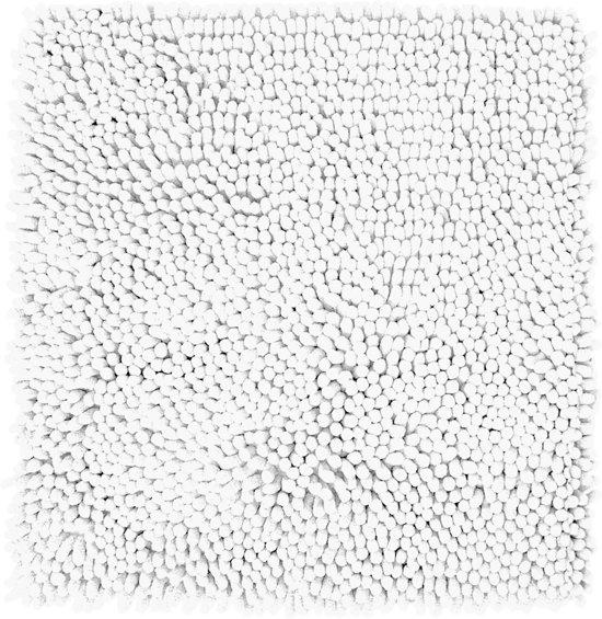 Differnz Chenille Shaggy - Badmat - 60x60 - Wit