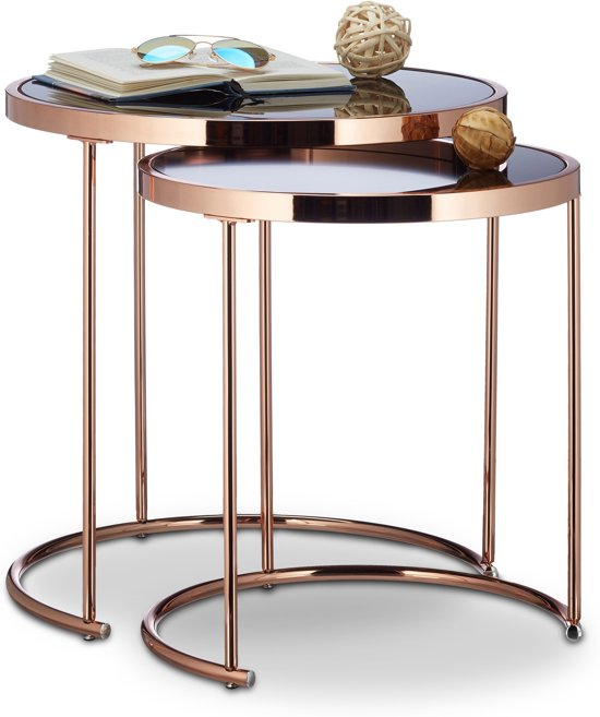 Relaxdays bijzettafels rond salontafel for Ronde nachtkastjes