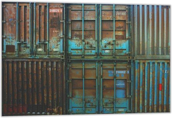 Dibond –Verroeste Zee Containers– 60x40 Foto op Dibond;Aluminium (Wanddecoratie van metaal)