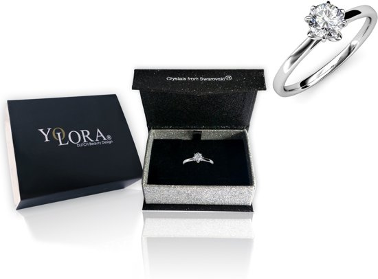 Yolora sieraden - Ring met Crystals from Swarovski ® - zilver keurig - Dames - YO-106-S52