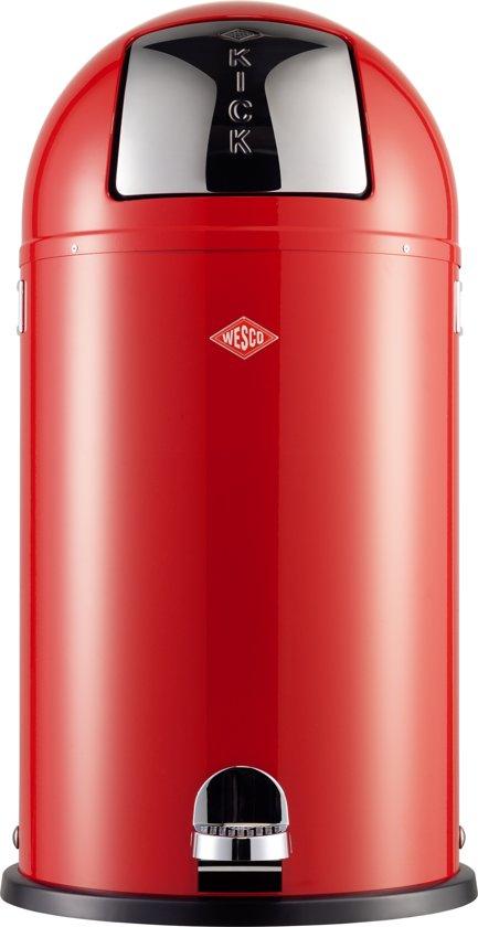 Rode Wesco Kickmaster.Wesco Kickboy Prullenbak 40 Liter Rood