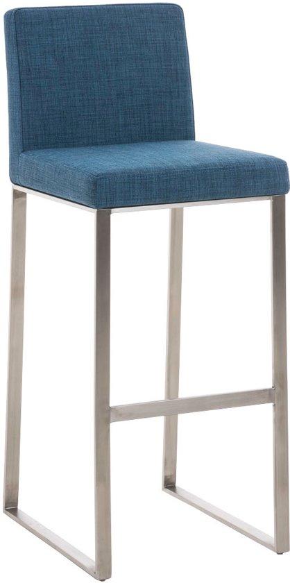 Clp Barkruk BELFAST - mat RVS frame, met rugleuning, stof - blauw