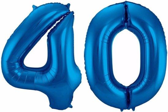 Cijfer 40 ballon blauw 86 cm - 40 jaar folieballon Valentinaa