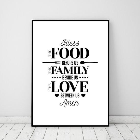 Muurdecoratie Voor Keuken.Bol Com Postercity Design Canvas Poster Bless The Food