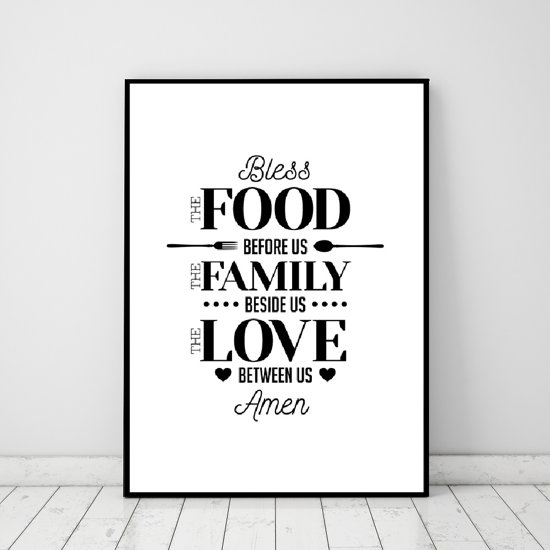 Keuken Muur Decoratie.Bol Com Postercity Design Canvas Poster Bless The Food