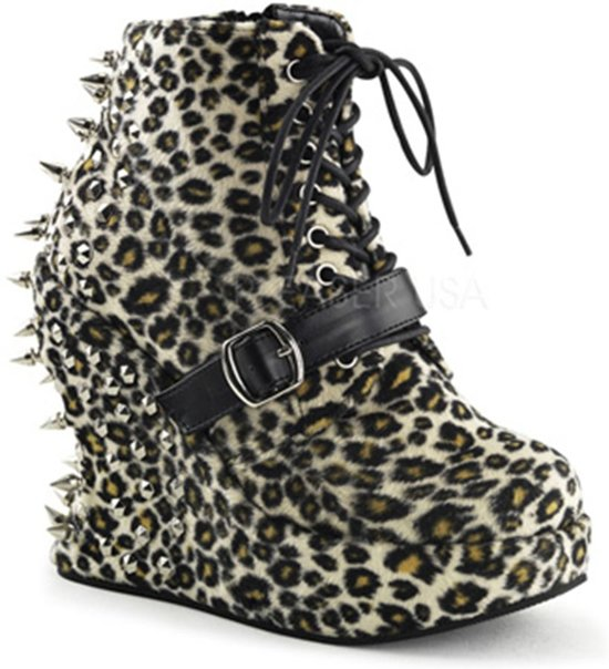 Bravo-23 Ankle boot with wedge and stud detail leopard print - (EU 38 = US 8) - Demonia
