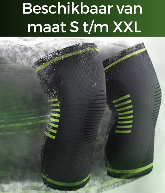 AVE Premium – Kniebrace - maat M - Kniebandage - Knie Bescherming - Ortho Compressie - Elastisch – Hardlopen – Sporten – Sportief - Wielrennen - Licht / Middelzware Knieklachten - Zwart / Groen
