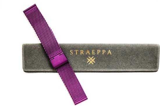 Purple Classic line 16mm - Horlogeband Paars- Milanese strap - Stainless steel + opening tool